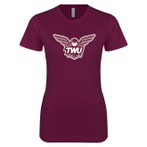 Next Level Ladies SoftStyle Junior Fitted Maroon Tee-Owl TWU