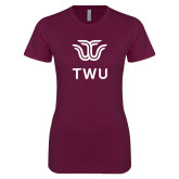 Next Level Ladies SoftStyle Junior Fitted Maroon Tee-Institutional TWU