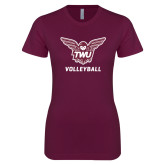 Next Level Ladies SoftStyle Junior Fitted Maroon Tee-Volleyball