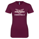 Next Level Ladies SoftStyle Junior Fitted Maroon Tee-Basketball Owl Graphic
