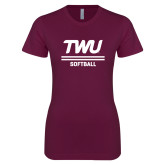 Next Level Ladies SoftStyle Junior Fitted Maroon Tee-Softball TWU Typeface