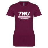 Next Level Ladies SoftStyle Junior Fitted Maroon Tee-Volleyball TWU Typeface