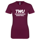 Next Level Ladies SoftStyle Junior Fitted Maroon Tee-Basketball TWU Typeface