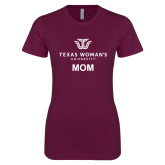 Next Level Ladies SoftStyle Junior Fitted Maroon Tee-Mom Institutional Logo