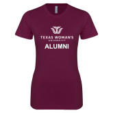 Next Level Ladies SoftStyle Junior Fitted Maroon Tee-Alumni Institutional Logo