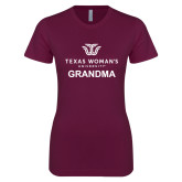 Next Level Ladies SoftStyle Junior Fitted Maroon Tee-Grandma Institutional Logo