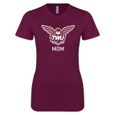 Next Level Ladies SoftStyle Junior Fitted Maroon Tee-Mom Owl TWU