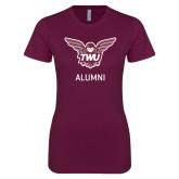 Next Level Ladies SoftStyle Junior Fitted Maroon Tee-Alumni Owl TWU
