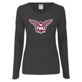 Ladies Dark Heather Long Sleeve V Neck Tee-Owl TWU