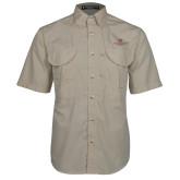 Khaki Short Sleeve Performance Fishing Shirt-Institutional Logo