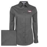 Ladies Grey Tonal Pattern Long Sleeve Shirt-TWU Typeface