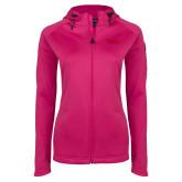 Ladies Tech Fleece Full Zip Hot Pink Hooded Jacket-TWU Typeface