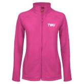 Ladies Fleece Full Zip Raspberry Jacket-TWU Typeface