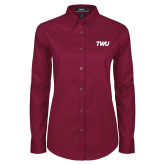 Ladies Maroon Twill Button Down Long Sleeve-TWU Typeface