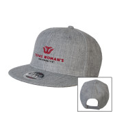 Heather Grey Wool Blend Flat Bill Snapback Hat-Institutional Logo
