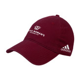 Adidas Maroon Slouch Unstructured Low Profile Hat-Institutional Logo
