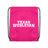 Pink Drawstring Backpack-Texas Wesleyan