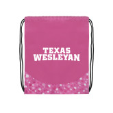 Nylon Pink Bubble Patterned Drawstring Backpack-Texas Wesleyan
