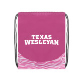 Nylon Zebra Pink/White Patterned Drawstring Backpack-Texas Wesleyan