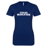 Next Level Ladies SoftStyle Junior Fitted Navy Tee-Texas Wesleyan