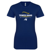 Next Level Ladies SoftStyle Junior Fitted Navy Tee-Baseball Design