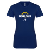 Next Level Ladies SoftStyle Junior Fitted Navy Tee-Soccer Design