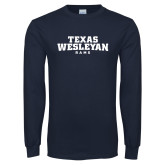 Navy Long Sleeve T Shirt-Texas Wesleyan Rams