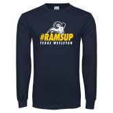 Navy Long Sleeve T Shirt-#Ramsup