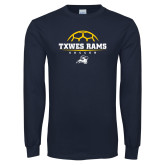 Navy Long Sleeve T Shirt-Soccer Design