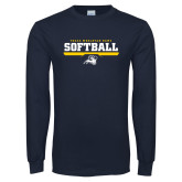 Navy Long Sleeve T Shirt-Softball Design