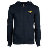 ENZA Ladies Navy Fleece Full Zip Hoodie-Secondary Mark