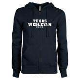 ENZA Ladies Navy Fleece Full Zip Hoodie-Texas Wesleyan Rams