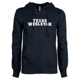 ENZA Ladies Navy Fleece Full Zip Hoodie-Texas Wesleyan