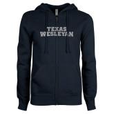 ENZA Ladies Navy Fleece Full Zip Hoodie-Texas Wesleyan Silver Soft Glitter