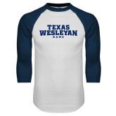 White/Navy Raglan Baseball T Shirt-Texas Wesleyan Rams