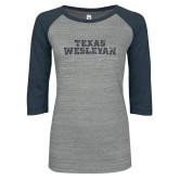 ENZA Ladies Athletic Heather/Navy Vintage Baseball Tee-Texas Wesleyan Graphite Soft Glitter