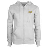 ENZA Ladies White Fleece Full Zip Hoodie-Primary Mark