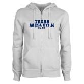 ENZA Ladies White Fleece Full Zip Hoodie-Texas Wesleyan Rams