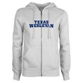 ENZA Ladies White Fleece Full Zip Hoodie-Texas Wesleyan