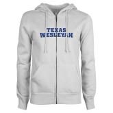 ENZA Ladies White Fleece Full Zip Hoodie-Texas Wesleyan Dark Blue Glitter