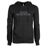ENZA Ladies Black Fleece Full Zip Hoodie-Texas Wesleyan Graphite Soft Glitter