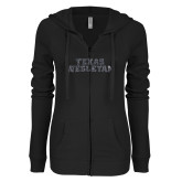 ENZA Ladies Black Light Weight Fleece Full Zip Hoodie-Texas Wesleyan Graphite Soft Glitter