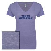 ENZA Ladies Surfer Blue Melange V Neck Tee-Texas Wesleyan Dark Blue Glitter