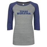 ENZA Ladies Athletic Heather/Purple Vintage Baseball Tee-Texas Wesleyan Dark Blue Glitter