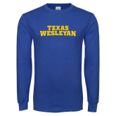 Royal Long Sleeve T Shirt-Texas Wesleyan