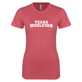 Next Level Ladies SoftStyle Junior Fitted Pink Tee-Texas Wesleyan