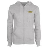 ENZA Ladies Grey Fleece Full Zip Hoodie-Secondary Mark