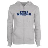 ENZA Ladies Grey Fleece Full Zip Hoodie-Texas Wesleyan Rams