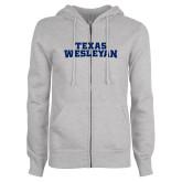 ENZA Ladies Grey Fleece Full Zip Hoodie-Texas Wesleyan