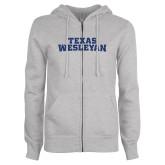 ENZA Ladies Grey Fleece Full Zip Hoodie-Texas Wesleyan Dark Blue Glitter